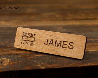 Wood Name Tag Laser Cut/Engraved Personalized Magnetic Or Pin Backing Name Tags, Business, Event, Funny, Prank,