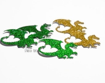 "Gold & Green Glitter 2.25"" Dragon  Cut-outs, Embellishments - Large Dragon Scrapbooking Cutouts or Choose Your Colors-Set of 12pcs, 25pcs"