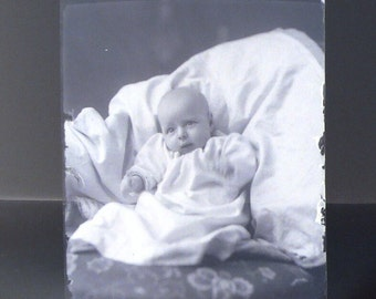 Blurry Hands Baby Photo Antique Victorian Glass Plate Photograph Negative Instant Ancestor