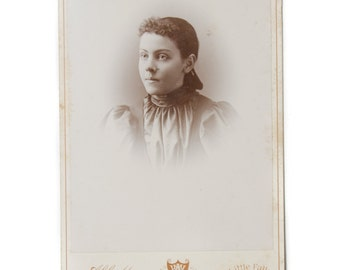 Victorian Photograph Antique Cabinet Photo Woman. Long Hair Vintage Photography Pretty Girl Victorian Photograph CC#10025