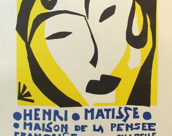 1959 Henri Matisse Vintage Print, Original French Exhibition Poster, Matisse Cut Outs Woman
