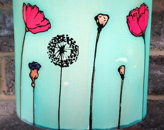 Poppy Lamp Shade, Blue, Hand Silk Painted, 20cm Drum Shade, Made To Order.