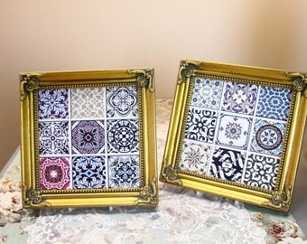 Hand Decorated - Ceramic Tile with Frame