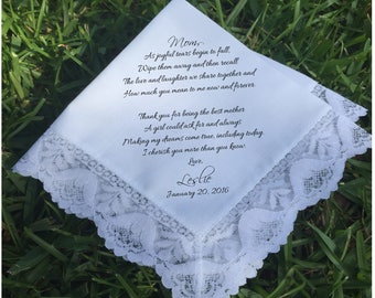 Mother of the Bride Gift Mother of the bride handkerchief mother of the Groom gift Wedding Handkerchief PRINTED handkerchief ...(H 038)