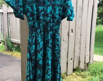 80s Green/Black Milanzo Dress