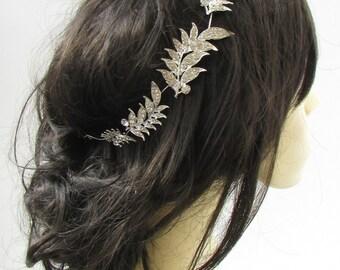 Silver Diamante Leaf Bridal Headpiece Hair Vine Headband Rhinestone 1920s 786