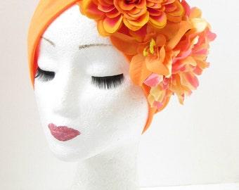 Orange Dahlia Peony Flower Turban Headpiece 1950s Rockabilly 1940s Floral 920