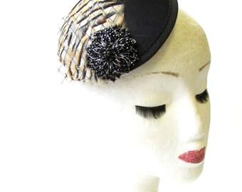 Black Tan Brown Partridge Feather Fascinator Pillbox Hair Races Vintage 40s 1437