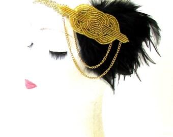 Black Gold Chain Feather Headpiece 1920s Headband Flapper Great Gatsby 1797