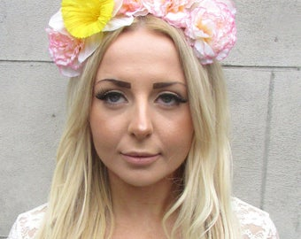Large Blush Pink Cream Yellow Daffodil Carnation Flower Garland Headband 2186