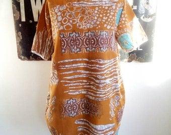 Vintage style Blue and White Floral Tunic Dress, Women's Dress, Girls Dress, Summer Dress, Shortsleeve Dress, Women's Apparel