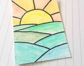Sunrise ACEO, original ACEO watercolour, artist trading card, art card ooak, hand drawn, miniature art, mixed media collectable