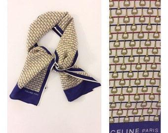 SALE -20% CÉLINE - 60s Céline Scarf - Céline Silk Foulard - Vintage Silk Scarf