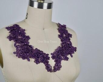 """PLUM Lollipop Deep Purple Beaded Applique Pair. Boudoir Lace Trim, Sequined. 9"""" in Length Each Piece"""