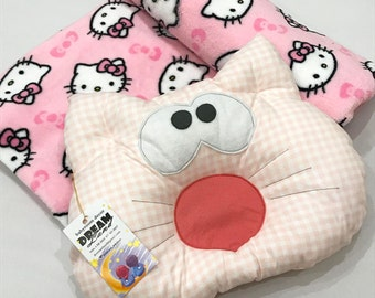 SET of Baby BLANKET & Baby PILLOW, minky and cotton  - stroller blanket - baby shower gift