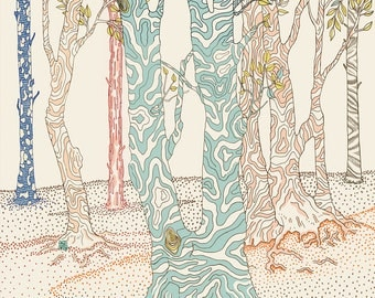 forest illustration, limited edition print (vertical)