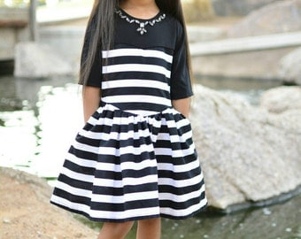 Girls Black Dress - Toddler Black Dress - Black Todfler clothes - Toddler Stripe Dress - Girls black white Dress - Girls party dress - Dress