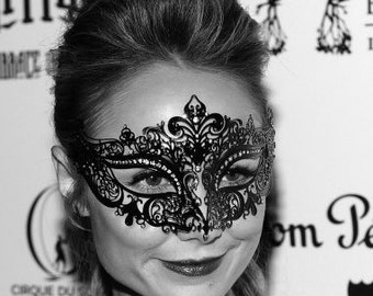 Stacy Keibler Masquerade Mask Metal Filigree Crown Laser Cut Masquerade Mask Detailed Clear Swarovski Rhinestones Masquerade Mask (For Her)
