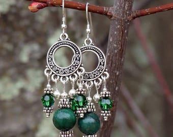 Silver, Verdite, and Swarovski Crystal Chandelier Earrings