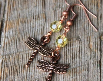 Copper Dragonfly and Swarovski Crystal Earrings