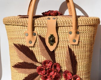 Vintage Straw Top Handle Bag