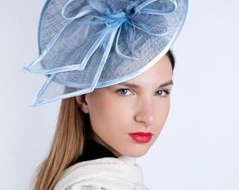 Kentucky blue headpiece, Royal Ascot fascinator, Kentucky derby hat, Derby fascinator hat, tea party hat, couture hat, Occasion headpiece