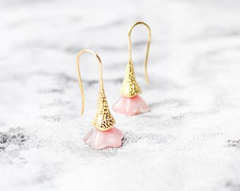 gold pink earrings delicate jewelry summer earrings gift daughter birthday gifts simple gold earrings teacher gifts soft pink jewelry пя8