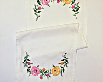 Vintage Hand Embroidered Table Runner, Finished Edge, Floral Arrangement