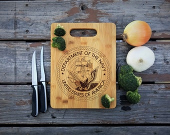 Department of the Navy, Bamboo Cutting Board, Mothers day gift, Patriotic Gift, Closing Gift, Veterans Gift, Laser Engraved, Navy Gift