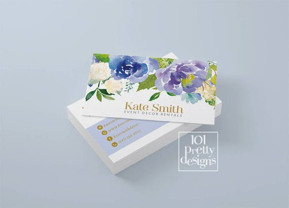 Floral business card template blue flowers business card design il570xn wajeb Images