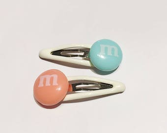 M&M Hair Clips, baby girls hair clips, snap clips set