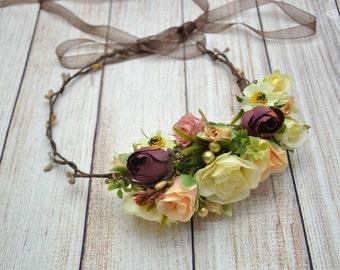 Woodland Flower Crown Head wreath Flower halo Floral Hair piece Valentine Gift Bridal Flower Halo Flower girl hair piece Bridal flower crown