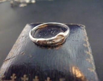 Vintage sterling silver buckle ring - 925 - UK L Half - US 6.25