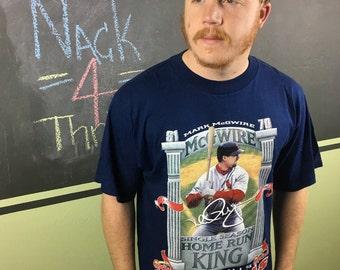 Vintage 1990s Mark McGuire Single Season Home Run King with the St. Louis Cardinals MLB Baseball Team Navy Blue Large T-Shirt