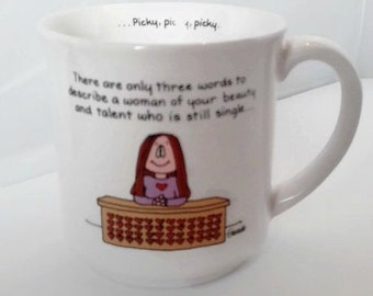 "Vintage 80s Cathy Comic Mug ""Picky, Picky, Picky"" - Humorous Cathy Guisewite Cartoon Mug Single Woman Joke Coffee Cup - Gifts for Friends"