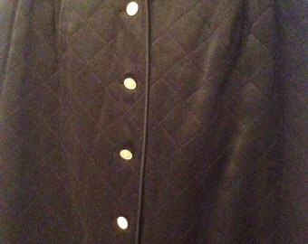 """Chanel Vintage Quilted Silk Satin Skirt with """"Handbag"""" Buttons"""