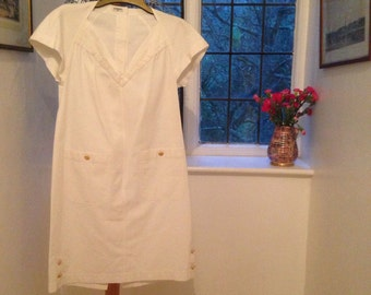 Chanel Vintage Dress with clover leaf button detail in white