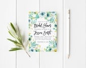 Mint and Yellow Bridal Shower Invitation Watercolor Bridal Shower Party Invitation Mint Wedding Party Invitation Instant Download Printable