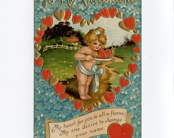 Vintage Valentine Postcard Cute Girl Blue Ribbon and Bow Plate Flaming Heart Blue Forget Me Nots Birn Brothers London Embossed Used - 7448Pa