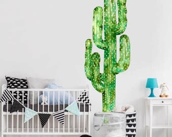 Saguaro Cactus Watercolor Wall Decal - Tall Cactus Wall Mural by Chromantics