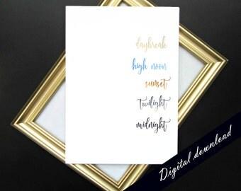 "Nature Minimalist Color Spectrum Printable - Modern Colorful Cursive Nature Lover Home Decor 5x7"" Digital Download"