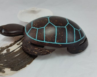Turtle Ornament Turtle Coconut Turtle Design Coconut Shell Turquoise