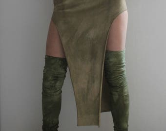 "tribal ""CHEROKEE"" skirt -sides open - organic fabric  GOTS - ecofriendly - hand dyed - size S - cream desert"
