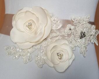 Bridal Belt, Bridal Sash, Wedding Sash, Wedding Belt Flower Sash Belt