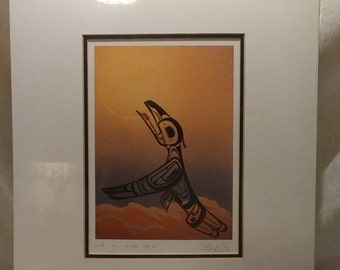 """Vintage Bill Helin """"Up to the Sun"""" Canadian Art Card Series Matted"""