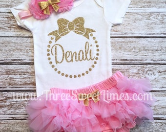 Personalized Baby Girl Clothes | Take Home Outfit Bodysuit |  Light Pink Gold Glitter |  Smash Cake | Leg Warmer Tutu Bloomer Headband