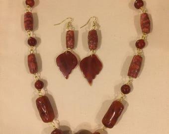 Amber, Coral and Carnelian Leaf Set