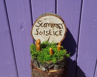Summer Solstice, Litha Decoration, Pagan Home, Rustic Ornament, Pyrographed Midsummer Sign, Stonehenge Style, Wheel of the Year, Wiccan