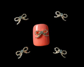 2 pcs Sparkly Bow with Rhinestone Miniature Nail Charms Art