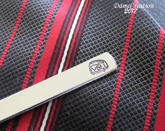 Silver Tie Clip - Bus Tie Clip - Bus Tie Bar - VW Bus - Hippie Tie Clip - Silver Tie Clip - Mens Accessories - VW Van - Groomsmen Tie Clip